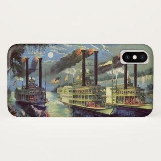 ヴィンテージ交通機関および旅行船の蒸気船 iPhone X ケース