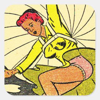 ヴィンテージ低俗なPinの上りのギャグの郵便はがきのパラシュートの女の子 スクエアシール
