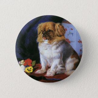 ヴィンテージ動物、おもちゃのPekingeseの小犬 5.7cm 丸型バッジ