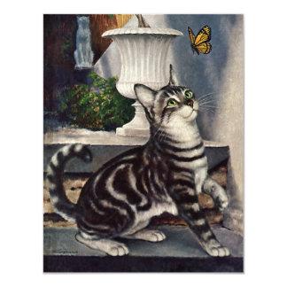 ヴィンテージ動物、かわいい虎猫猫のsndの蝶 10.8 x 14 インビテーションカード