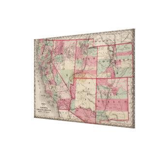 ヴィンテージ南西米国は地図を描きます(1869年) キャンバスプリント