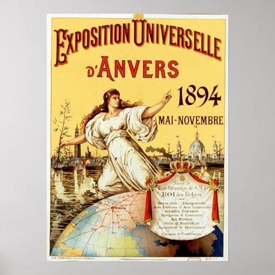 ヴィンテージ博覧会のUniverselleのd'Anvers 1894年 ポスター