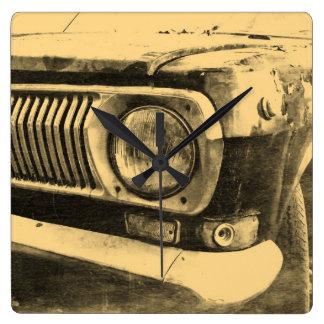 ヴィンテージ古くクラシックな車のヘッドライト スクエア壁時計