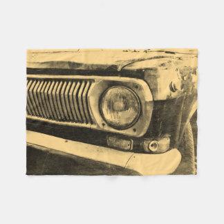 ヴィンテージ古くクラシックな車のヘッドライト フリースブランケット