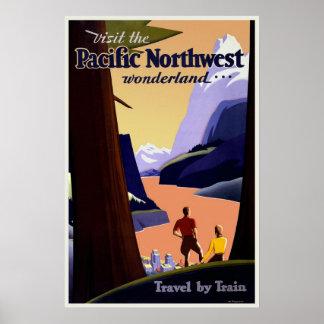 ヴィンテージ太平洋の北西旅行ポスター ポスター