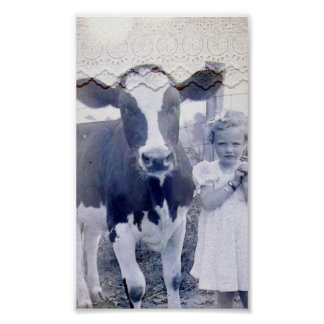 ヴィンテージ子供および牛 ポスター