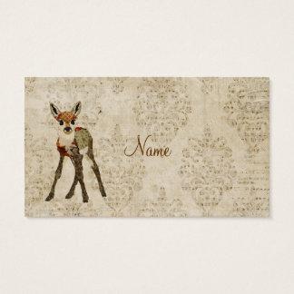 ヴィンテージ少しばら色の子鹿の名刺 名刺