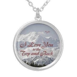 ヴィンテージ山: 私は上および背部に愛します シルバープレートネックレス