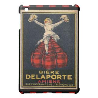 ヴィンテージ市松模様になるフランスのなビール広告ポスター iPad MINIケース