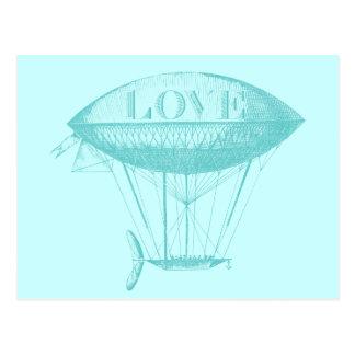 ヴィンテージ愛ツェッペリン型飛行船の青 ポストカード