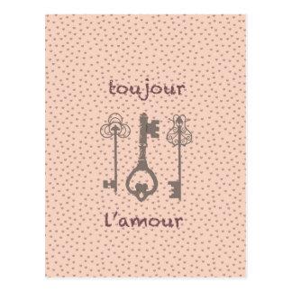 ヴィンテージ愛ハート及びフランスのな鍵 ポストカード
