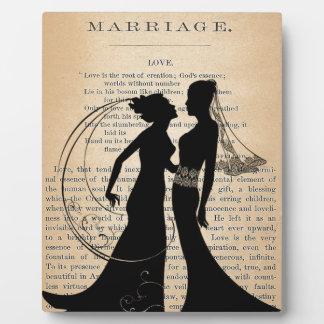 ヴィンテージ愛及び結婚レズビアンの結婚のLongfellow フォトプラーク