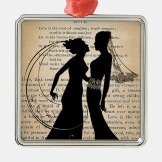 ヴィンテージ愛及び結婚レズビアンの結婚のLongfellow メタルオーナメント