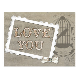 ヴィンテージ愛鳥かごの郵便はがき ポストカード