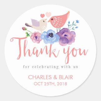 ヴィンテージ愛鳥の花柄は結婚式のステッカー感謝していしています ラウンドシール