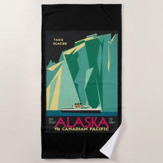 ヴィンテージ旅行アラスカTakuの氷河遊航船 ビーチタオル