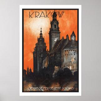 ヴィンテージ旅行クラクフポーランド ポスター