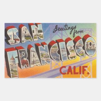 ヴィンテージ旅行サンフランシスコ 長方形シール