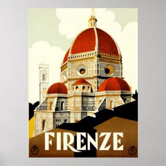 ヴィンテージ旅行フィレンツェイタリアのプリント ポスター