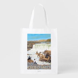ヴィンテージ旅行ポスターを採取するCeliloの滝 エコバッグ