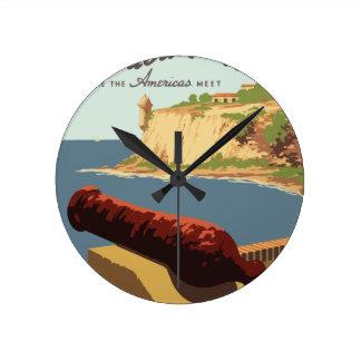 ヴィンテージ旅行ポスタープエルトリコ ラウンド壁時計