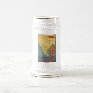 ヴィンテージ旅行ポスター広告のレトロのプリント ビールジョッキ
