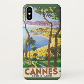 ヴィンテージ旅行ポスター、カンヌ、フランスのビーチ iPhone X ケース