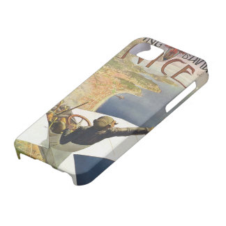 ヴィンテージ旅行ポスター、ニースフランス上の飛行機 iPhone 5 ベアリーゼアケース