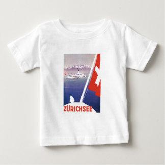 ヴィンテージ旅行ポスター: 湖チューリッヒスイス連邦共和国 ベビーTシャツ