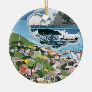 ヴィンテージ旅行ポスター、Nantucketの島、MAの地図 セラミックオーナメント