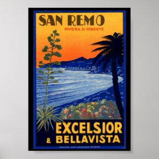ヴィンテージ旅行ポスター、San Remoの木毛イタリア ポスター