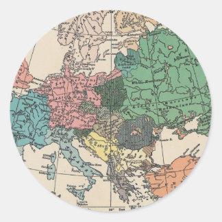 ヴィンテージ旅行地図 丸形シール・ステッカー