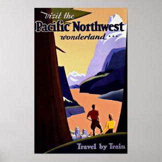 ヴィンテージ旅行太平洋の北西不思議の国 ポスター