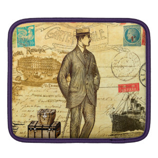 ヴィンテージ旅行日記のパリの人のボートは郵便を押しました iPadスリーブ