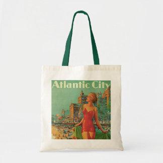 ヴィンテージ旅行; アトランティック・シティリゾートは、ブロンドの女性を浜に引き上げます トートバッグ