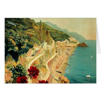 ヴィンテージ旅行、アマルフィのイタリアンな海岸のビーチ カード