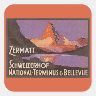 ヴィンテージ旅行、スイス連邦共和国のマッターホルン山 正方形シール