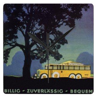 ヴィンテージ旅行、ドイツの夜の黄色いバス クロック