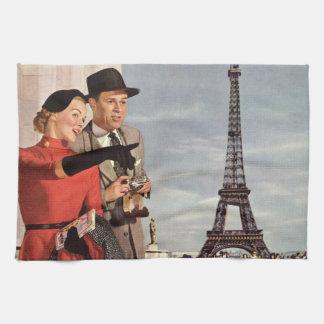 ヴィンテージ旅行-パリの恋人 キッチンタオル