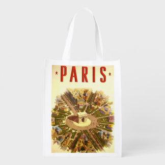 ヴィンテージ旅行、凱旋門パリフランス リユーザブルバッグ