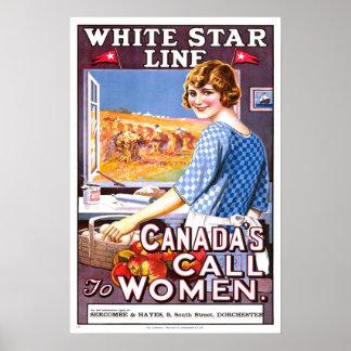 ヴィンテージ旅行、白い星ライン ポスター