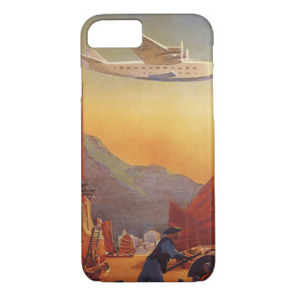 ヴィンテージ旅行、香港のがらくた上の飛行機 iPhone 8/7ケース