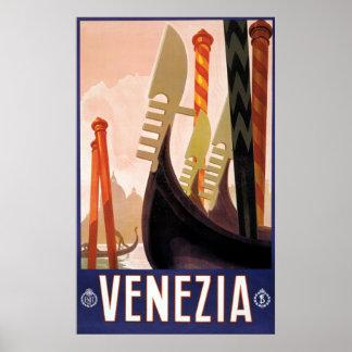 ヴィンテージ旅行、Venezia、ベニス、イタリアのゴンドラ ポスター