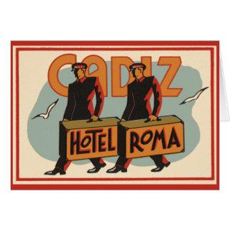 ヴィンテージ旅行Bellhopsのホテルローマ、カディス、スペイン カード