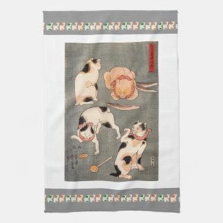 ヴィンテージ日本のな猫の芸術パターン キッチンタオル