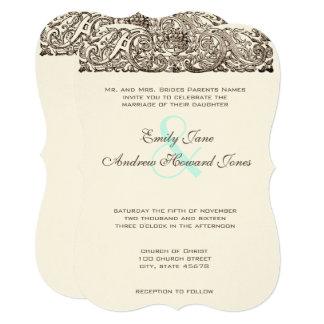 ヴィンテージ旧式なスクロール仕事の結婚式招待状 12.7 X 17.8 インビテーションカード