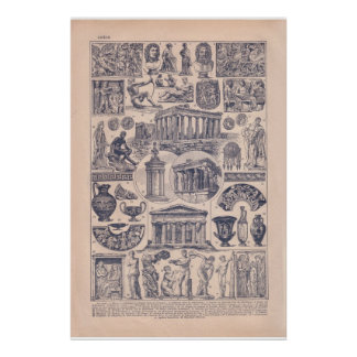 ヴィンテージ歴史的な1920年のギリシャ プリント