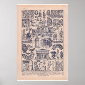 ヴィンテージ歴史的な1920年のギリシャ ポスター