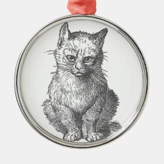 ヴィンテージ気難しい猫のデザイン メタルオーナメント