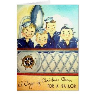 ヴィンテージ海軍軍のクリスマスカード カード